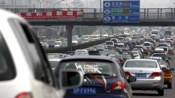 A main road in Beijing, China, suffers its own major traffic jam on Friday.