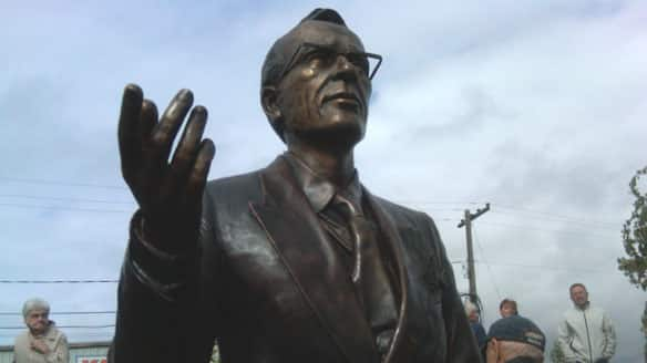 A statue of Tommy Douglas now stands on the Riverfront Boardwalk in Weyburn, Sask.