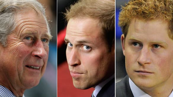 The current line of succession to the throne is Prince Charles, followed by his sons Prince William and Prince Harry.