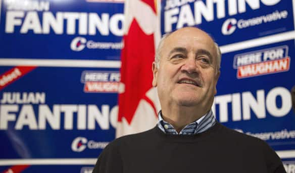 Julian Fantino, shown at his election night party after winning the byelection in the Vaughan riding on Monday, spoke to CBC Radio's As It Happens about his win. (Chris Young/Canadian Press)