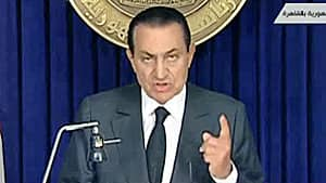 Egypt's President Hosni Mubarak addresses the nation in this still image taken from video February 10, 2011.