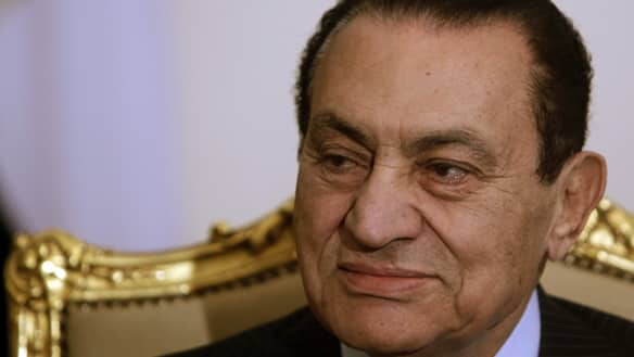 Egypt's President Hosni Mubarak attends a meeting with Russia's Deputy Foreign Minister Alexander Saltanov at the presidential palace in Cairo on Feb. 9, 2011.
