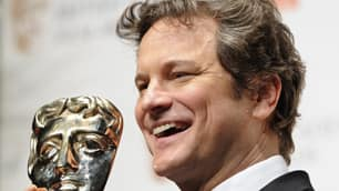 Colin Firth poses with the prize for best actor backstage during the BAFTA film awards at the Royal Opera House in London on Sunday. Firth won for his portrayal of King George VI in The King's Speech.