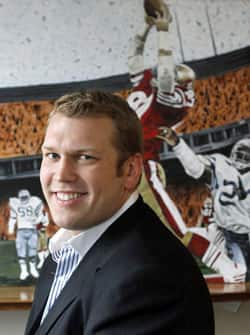 Former pro wrestler Chris Nowinski in his office at Boston University, where he co-founded the Sports Legacy Institute, a non-profit concussion research organization, in 2007.