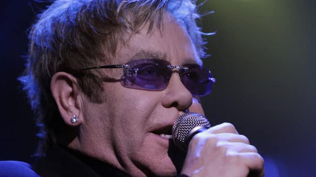 British singer Sir Elton John performs during a concert in London, in 2010.