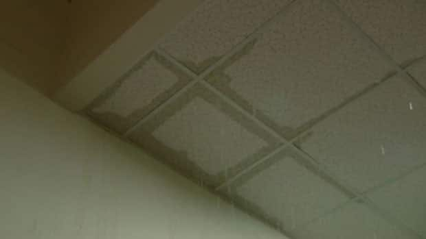 Water seeps through the ceiling tiles into the basement of the Bulman building on the University of Winnipeg campus.