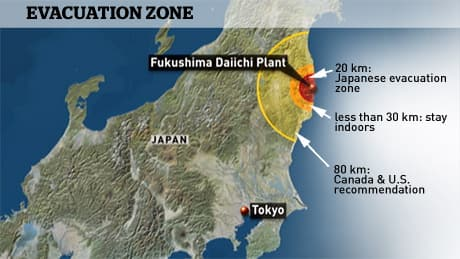 Map of the evacuation zone around the Fukushima Daiichi nuclear power plant in northern Japan.