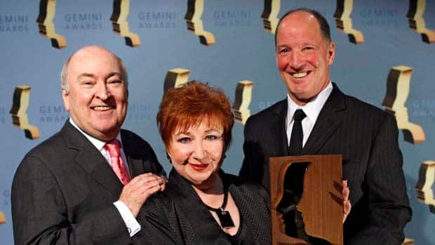 Royal Canadian Air Farce cast members Roger Abbott, left, Luba Goy and Don Ferguson pose with their lifetime achievement award at the 24th Annual Gemini Awards in Calgary in 2009. Larry Macdougal/Canadian Press