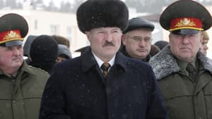 Belarus President Alexander Lukashenko, centre, is seen during a February visit to the military unit of the Belarus army in Minsk.