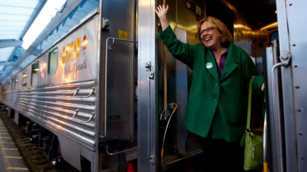 Green Party Leader Elizabeth May, seen boarding a VIA Rail train in Vancouver, says party support in her home riding is growing.