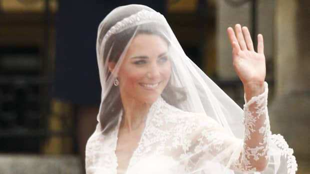 Kate Middleton arrives at Westminster Abbey for her marriage to Britain's Prince William at Westminster Abbey on Friday.