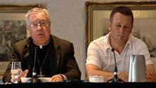 In August 2009, Bishop Raymond Lahey (left) announced a landmark $15-million settlement for victims of sexual abuse.