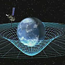 According to Einstein's theories of relativity, the mass of Earth dimples space-time like a heavy person sitting in the middle of a trampoline.