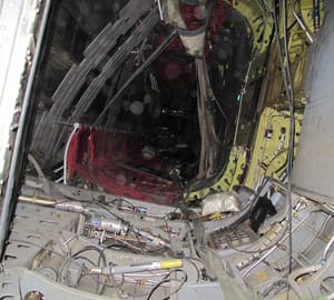 The interior of a Canadian Forces chopper is shown on its side after it crashed on landing in the Panjwaii district of southern Afghanistan early Monday.