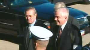 Three months before the Iraq invasion, the then Canadian defence minister John McCallum, right, met with U.S. counterpart Donald Rumsfeld, left, whose diplomats had told him to keep his expectations 'modest' for what Canada might contribute to the war.