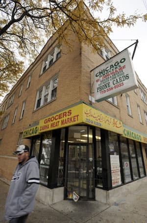 This 2009 photo shows the grocery store owned by Tahawwur Hussain Rana on Chicago's Devon Avenue, home to one of the largest South Asian business enclaves in the U.S.