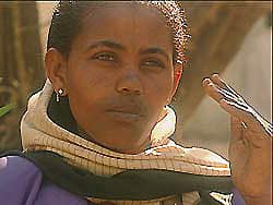 Birhan Woldu, in 2002, a young woman attending college.