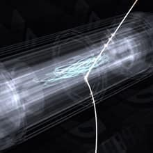 An antihydrogen atom is released from the trap after 1,000 seconds, in an artist's conception. The squiggly line represents the atom's path in the trap while it is trapped, and the curved tracks emerging represent the energy produced when the released anti-atom hits the inner wall of the trap.