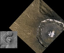 Messenger took this high-resolution image, colour of Mercury's Degas crater, shown beside an image from Mariner 10 (left) for comparison. Rock that melted from the heat of the impact, then cooled and shrank, formed the cracks observed in the crater, which is 52 kilometres across.