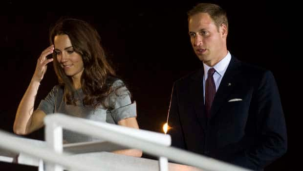 The Duke and Duchess of Cambridge arrive on board HMCS Montreal, in Montreal, on Saturday as they prepare for their St. Lawrence River journey to Quebec City.