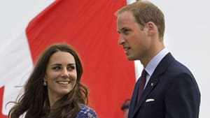 Prince William and Kate, the Duke and Duchess of Cambridge, leave HMCS Montreal as they arrive in Quebec City on Sunday.