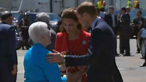 Frances Miller, 81, presents Will and Kate with flowers, 72 years after her first chance to meet the royal family was inexplicably botched.
