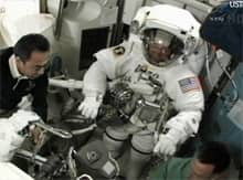 NASA astronaut Mike Fossum prepares for the only spacewalk planned during the Atlantis shuttle's stay at the space station.