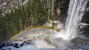 Search and rescue rangers at Yosemite National Park were scouring an area below the Vernal Falls on Wednesday after three tourists were swept over the popular scenic spot.