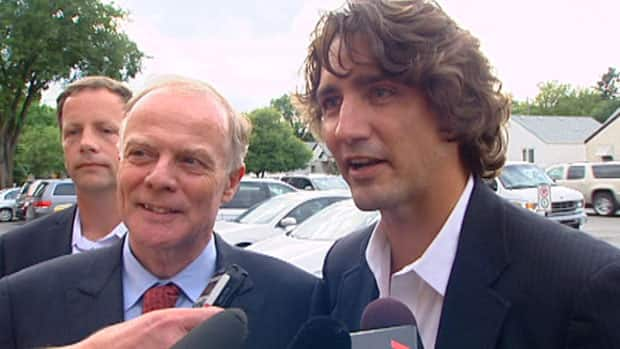 Manitoba Liberal Leader Jon Gerrard with Montreal Papineau MP Justin Trudeau in Winnipeg Aug. 31.
