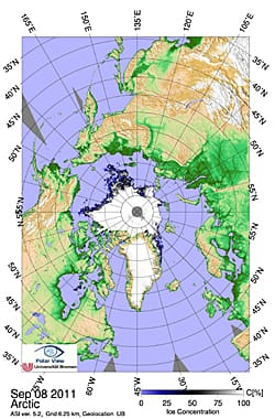 The University of Bremen maps the sea ice using data from a Japanese instrument on NASA's Aqua satellite. The data showed a record low coverage on Sept. 8, but that could be undercut in coming weeks, scientists said.