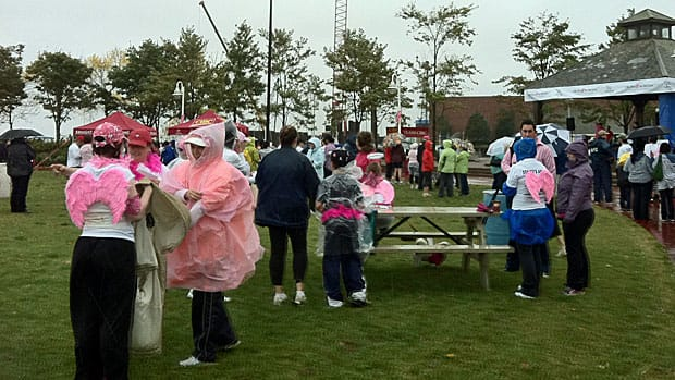 Almost 1,000 people took part in the Run for the Cure in  Charlottetown, P.E.I. on Oct. 2 despite the rain. Similar runs were held  in cities across Canada for the annual charity event that raises money  for cancer research.