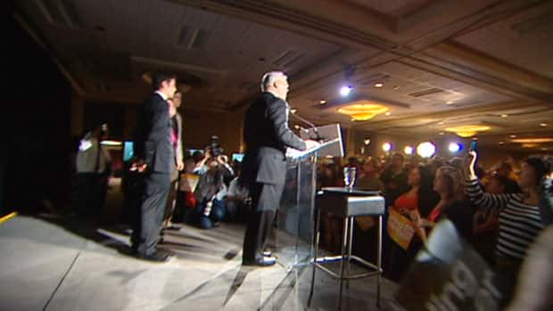 Greg Selinger addresses supporters during his victory speech on Tuesday.