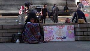 'Occupy Vancouver' protesters camped outside the city's art gallery on Saturday night.