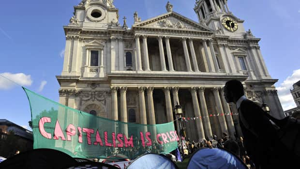 Demonstrators camp outside St. Paul's Cathedral in London. Many have promised to occupy the site indefinitely as they protest against economic inequality and corporate greed.