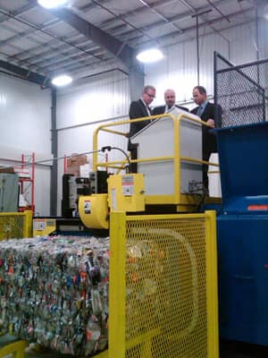 A new recycling plant is officially opened in Saskatoon.