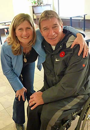 CBC News writer Heather Bakken and Rick Hansen at the Lyndhurst Spinal Cord Rehabilitation Centre in Toronto on Nov. 6, 2011.