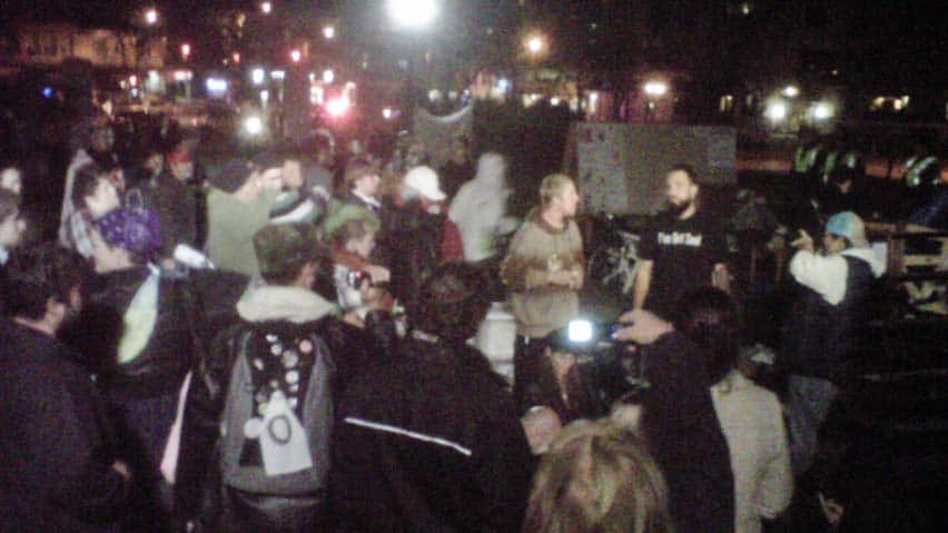 Police in London, Ont., moved against an Occupy protesters' encampment early Wednesday morning, taking away their tents.