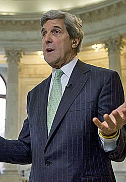 Democratic Sen. John Kerry explains the deficit committee's unfinished work to reporters in the Capitol.