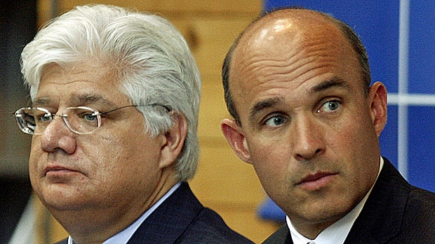 Jim Balsillie, right, and Mike Lazaridis, who have shared the CEO and chair titles at Research In Motion, have resigned. Thorsten Heins, formerly the company's chief operating officer, was named CEO and president.