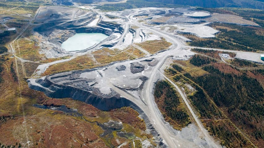 An aerial view of the Grum pit at the mine complex in Faro, Yukon.