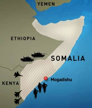 Rooting out al-Shabaab? Ethiopia, Kenya and a contingend of African Union soldiers are forming a pincer attack against the fundamentalist al-Shabaab, which controls much of south-central Somalia, the shaded area.