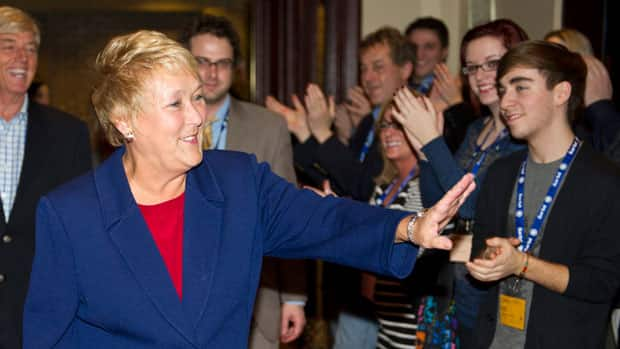 Pauline Marois delivered a campaign-style speech to party supporters Friday night, lashing out at the federal government.