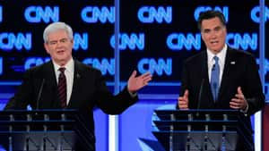 Newt Gingrich, left, faltered in last week's Republican presidential candidate debate in Florida, just as rival Mitt Romney stepped up his game.