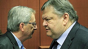 Ships in the night? Luxembourg Prime Minister Jean-Claude Juncker, (left) the euro-group chairman, and Greek Finance Minister Evangelos Venizelos, at a EU meeting in Brussels in February 2012.