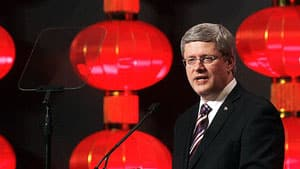 Prime Minister Stephen Harper delivers a speech in Guangzhou, China, Friday, Feb. 10, 2012.