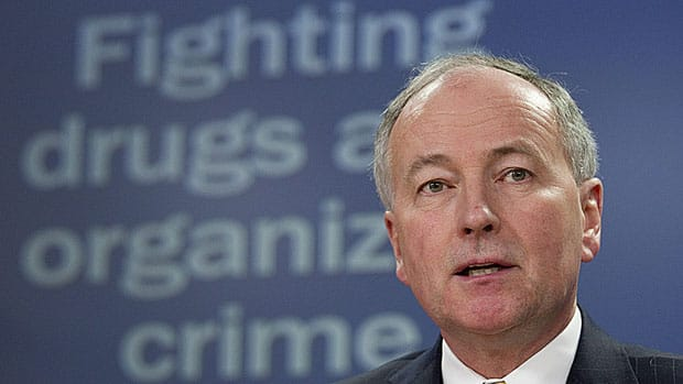 Justice Minister Rob Nicholson speaks in February, 2011 about the government's previous attempt to impose mandatory minimum sentences for drug crimes. Bill C-10, currently before the Senate, would impose minimums for marijuana possession.