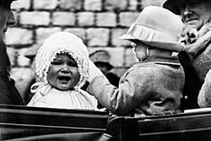 Queen Elizabeth, left, is seen in this 1927 photo when she was Princess Elizabeth, aged one year.