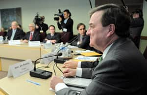 Finance Minister Jim Flaherty meets with private sector economists in Ottawa on March 5. He says concerns over the increase in cross-border shopping allowances are misguided.