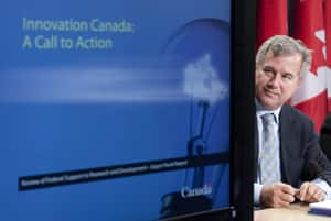 Tom Jenkins of OpenText Corp. releases the final report of an experts panel on innovation that he chaired, in Ottawa, October 17, 2011.