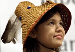 Children on native reserves deserve the same opportunities as those off reserve, argues Blackstock. Here, Ta'Kaiya Blaney, 10, of the Sliammon First Nation in B.C. participates in a ceremonial signing of an agreement among several First Nations to stop oil companies from expanding pipelines onto their territories.